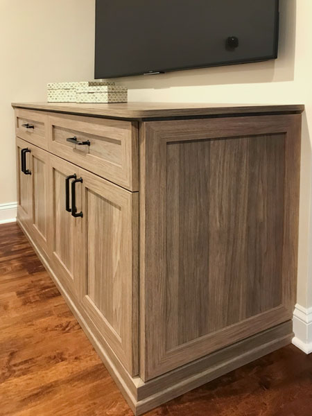 custom bedroom entertainment center in Apres Ski thermally fused laminate - TFL