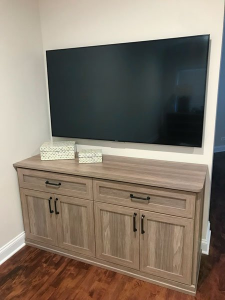 custom bedroom media center in Apres Ski thermally fused laminate - TFL