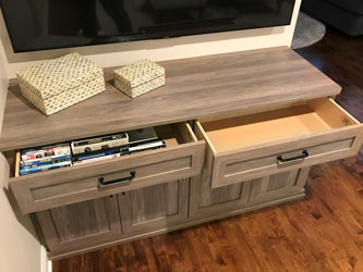 drawer storage space in entertainment center