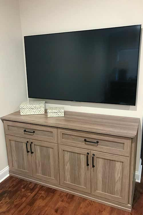 custom bedroom media cabinet for large television