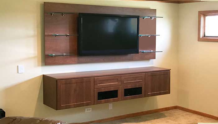 floating entertainment center is a type of modern built in storage