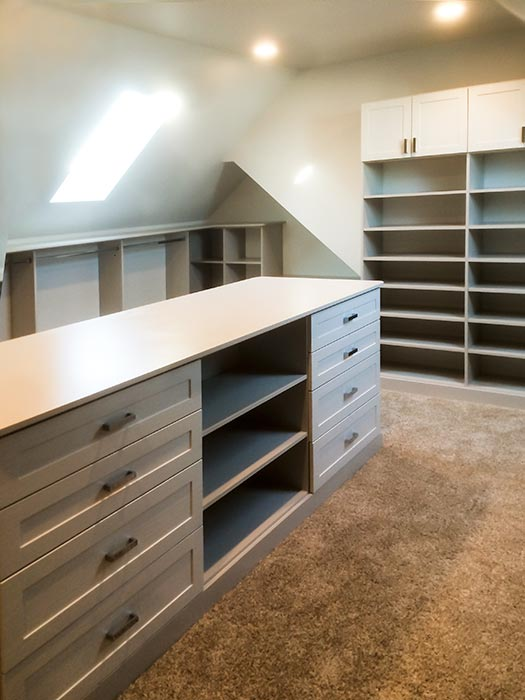 Bonus Room Closet Ideas With Center Island, Shoe Shelves And Generous  Hanging Space