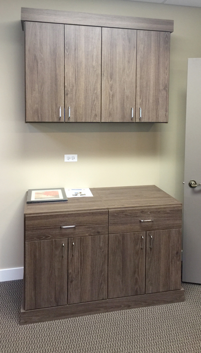 cocoa bean wall unit in reception area for dental office