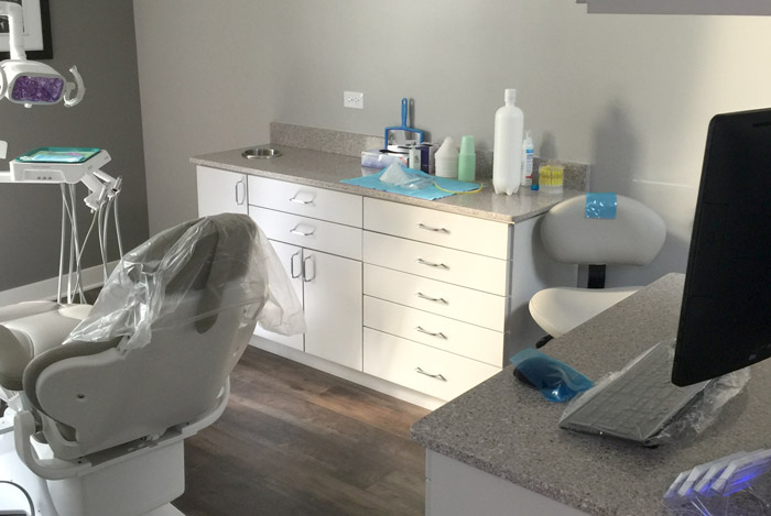 work station with drawer system and countertops