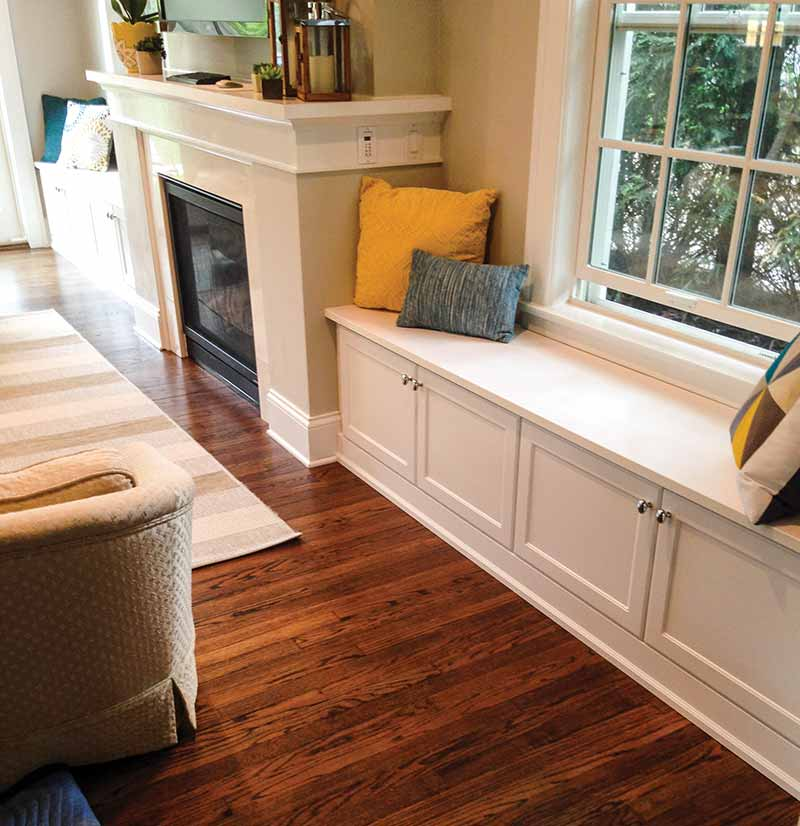 built-in fireplace seating