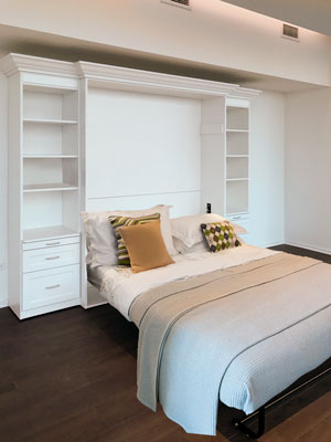 white queen sized wall bed with mounted television