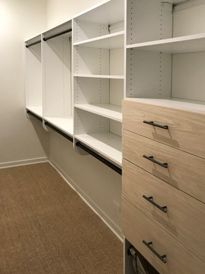walk in closet with viva laminate drawers