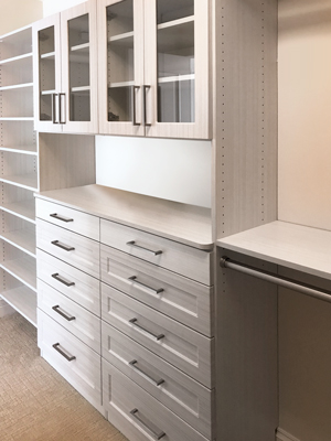 walk in closet with double closet hutch