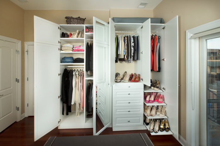 Full view of bedroom wardrobe closets display custom closets solutions capability