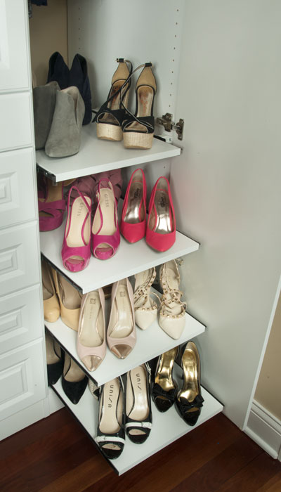 custom slide out shelves for shoe storage