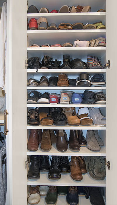 cabinet for storage of multiple pairs of shoes