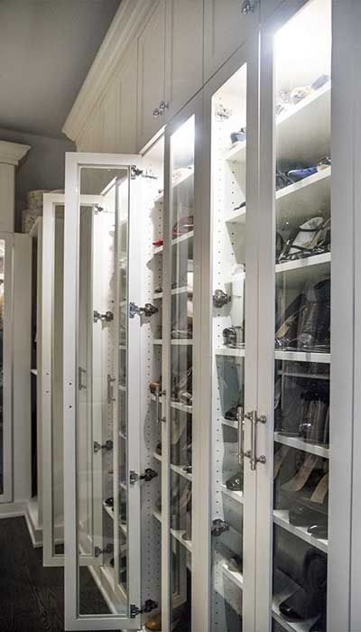 glass designer closet doors for shoe shelves
