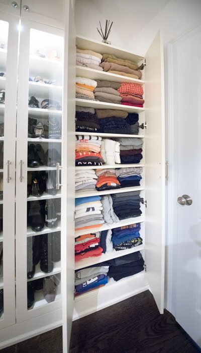 closet cabinet and shelves for sweaters