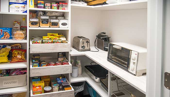 pantry room incudes countertops for small appliance use