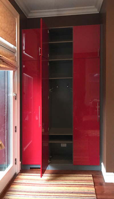 custom mud room storage cabinets in high gloss with moonlight interior