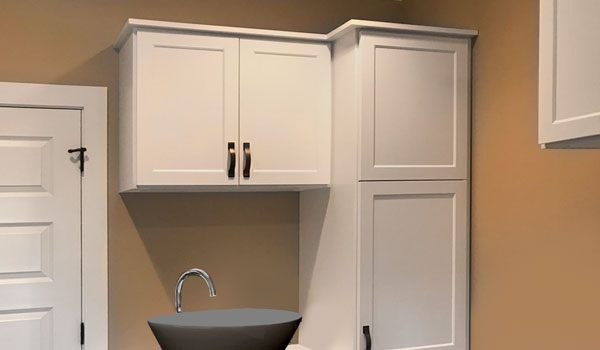 modern mudroom design with vessel sink