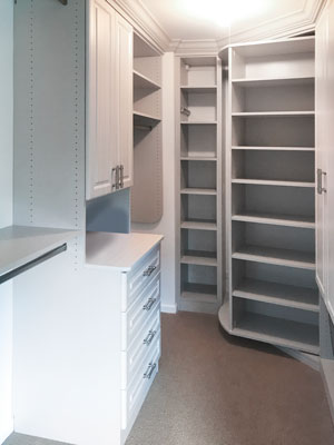 custom luxury walk in closet with customized shoe spinner