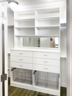 custom closet built in with mirror