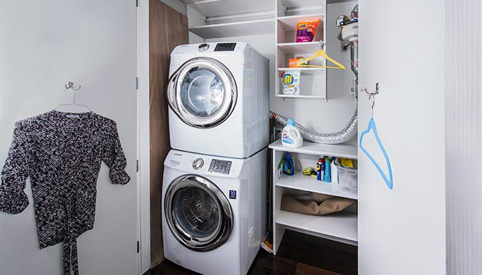 Simple laundry closet organization and storage system