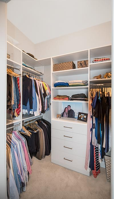 Tiny Walk In Closet Customized With Drawers And Shelves For Maximum Organization Narrow