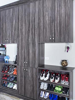 mud room shoe organization system for the rear entrance