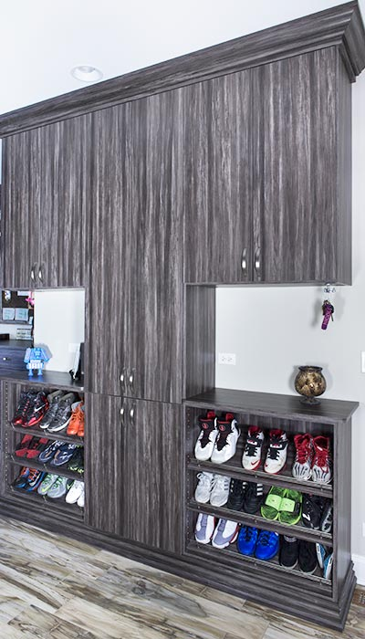 Back door shoe organization system in Merapi thermally fused laminate - TFL