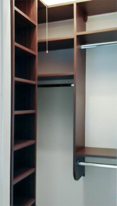 Reach-In closet system in Milk Chocolate thermally fused laminate - TFL