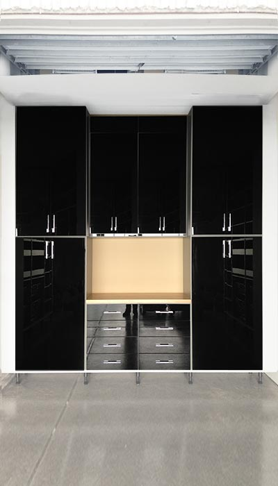 Custom high gloss black modern garage storage cabinets