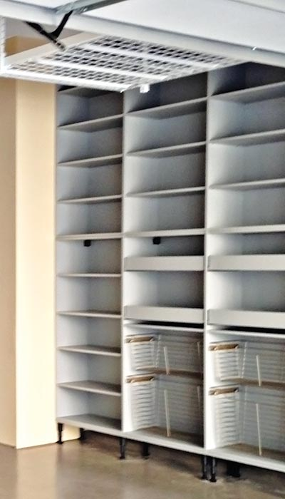 Custom modern garage shelving storage system with pull-out baskets