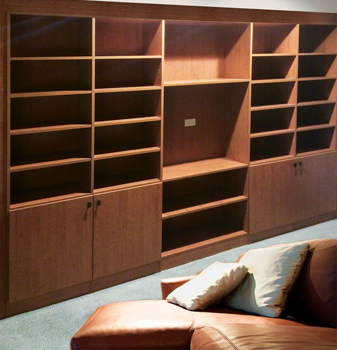 Closet with drawers and and shelving system in Slate laminate