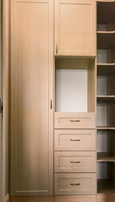 custom walk-in closet system in Summer Breeze thermally fused laminate - TFL