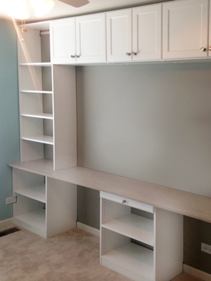 White media center with shelves and hutch for television