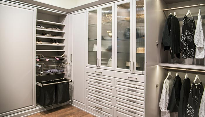 Wardrobe system wall closet units system adds storage outside the closet and includes closet organization accessories
