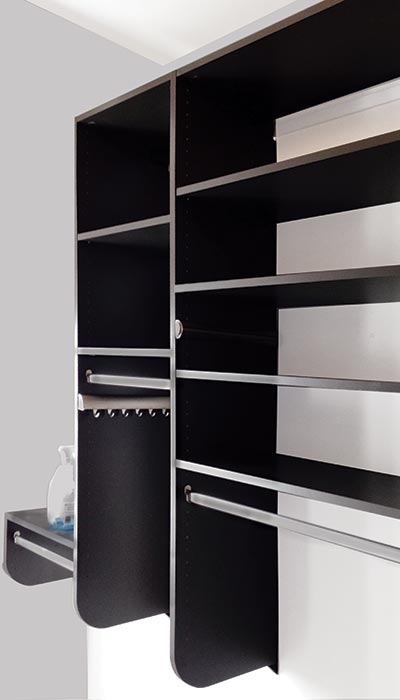 closet shelving in Slate - dark gray thermally fused laminate
