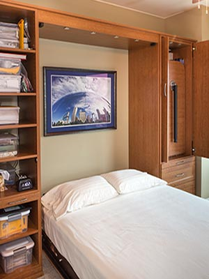 Murphy bed opens up for overnight guests