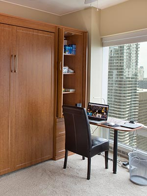 home office with Murphy desk in a cabinet