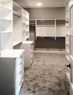 custom closet organization system in white thermally fused laminate (TFL)