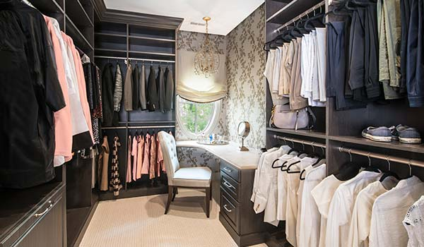 Superior Elegant Walk In Closet Ideas With Dressing Table And Customized Shoe Spinner