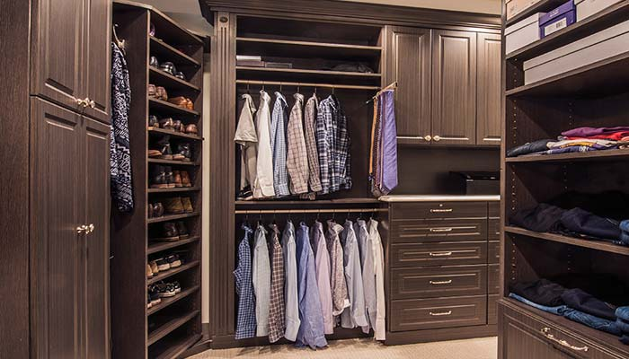 custom organization system and closet accessories for L shaped walk in closet