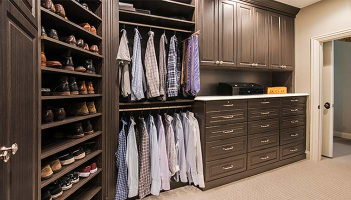 Custom L Shaped Walk In Closet With Shoe Spinner And Built Hutch