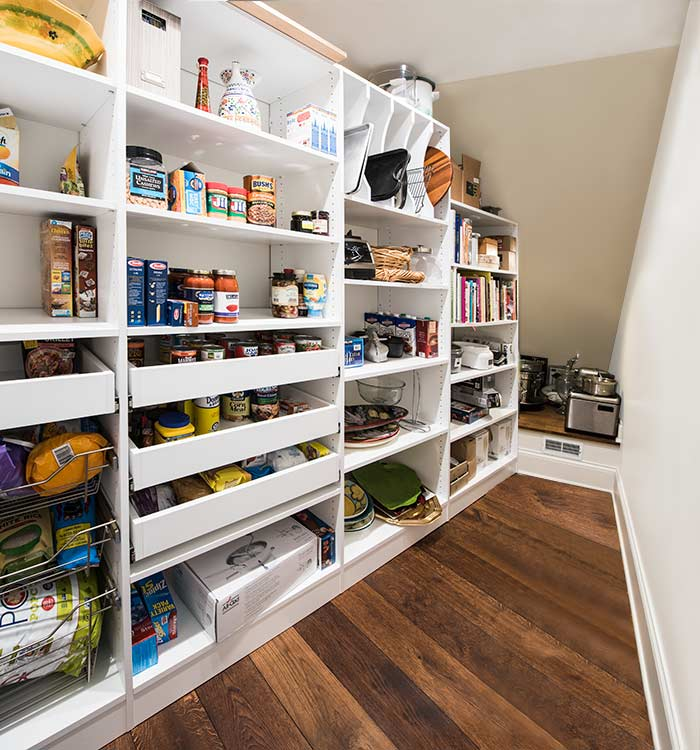 designing a pantry for a narrow pantry with pull-out pantry shelves