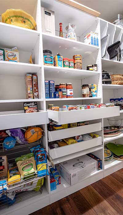 long narrow pantry closet with pantry organizers