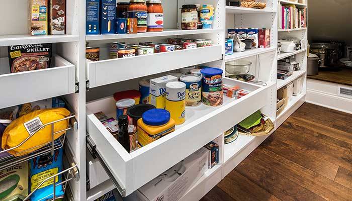 Best closet organiers for small closets include pull-out pantry shelves, no matter what type of closet