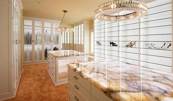 Extravagent Custom Walk In Closets With Lighting System