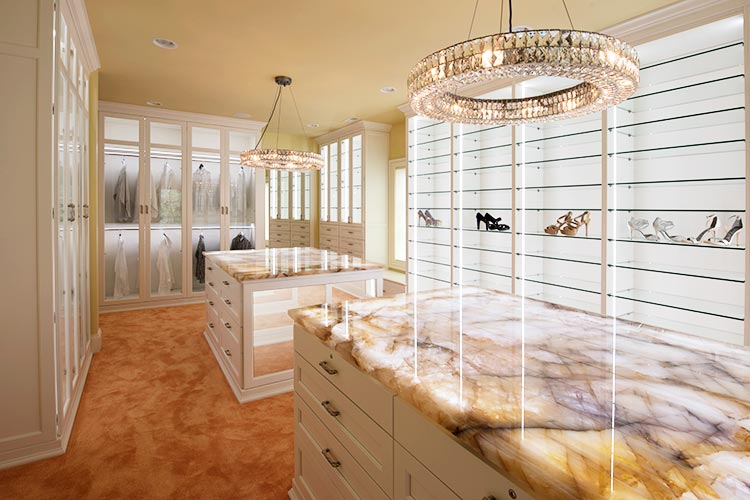 Walkin Closet Organization System With Custom LED Lighting