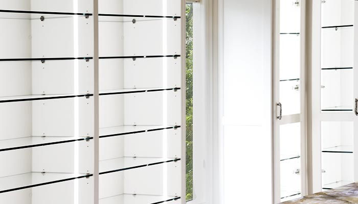 ... Vertical Dressing Room Lighting System Along Shoe Shelves Keeps  Everything Easy To Find