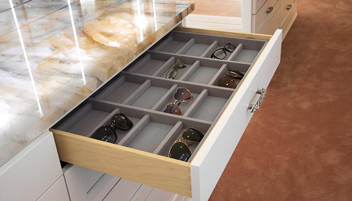 velvet drawer dividers also work for an eye glass collection
