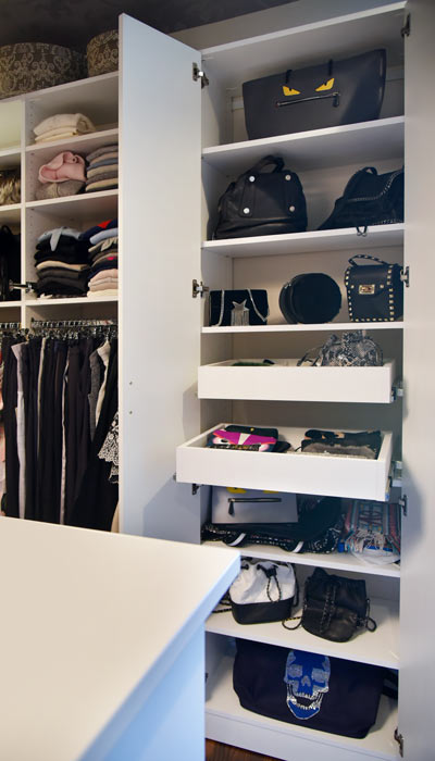 purse closet with pull out shelves
