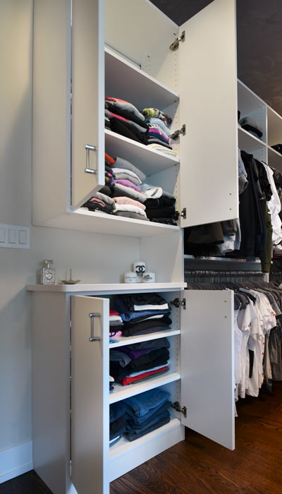 purse closet and cabinet for sweaters or folded items