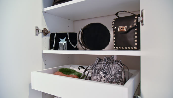 cabinet with pull outs for closet purse organizer